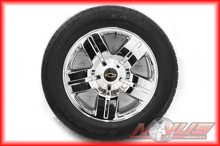 "New 20"" Chevy Silverado Tahoe LTZ GMC Yukon Sierra Chrome Wheels Goodyear Tires"